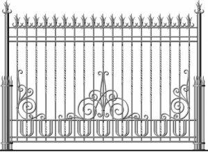 Забор кованый, сварный, секционный-эскиз