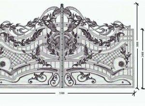 Кованые ворота эскиз, Цена от 28000 руб. м2. Точный расчет по Вашим размерам и запросу