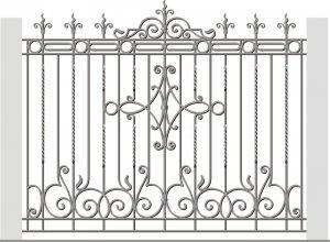 Кованый забор с вензелями- эскиз Цена от<del> 5000</del> <strong>4000</strong> руб. м2. Точный расчет по Вашим размерам и запросу